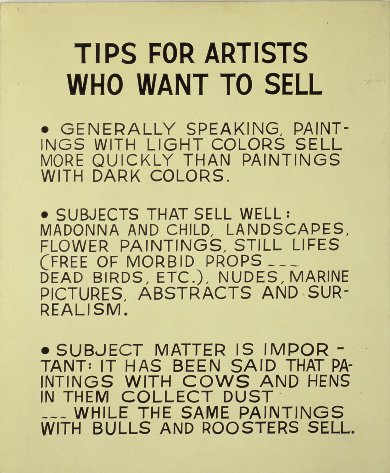 John Baldessari, Tips for Artists Who Want to Sell , 19661968