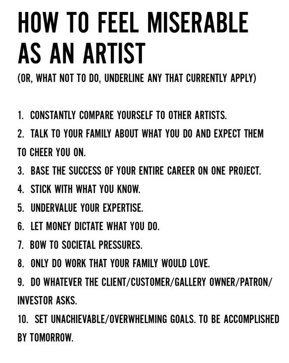 Keri Smith, How to Feel Miserable as an Artist, 2010
