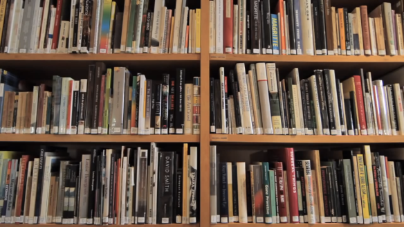 A brief history of John Baldessari - screen shot - bookshelves