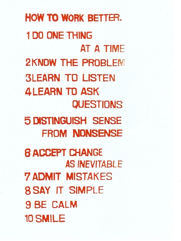 Fischli Weiss, How to Work Better, 1991