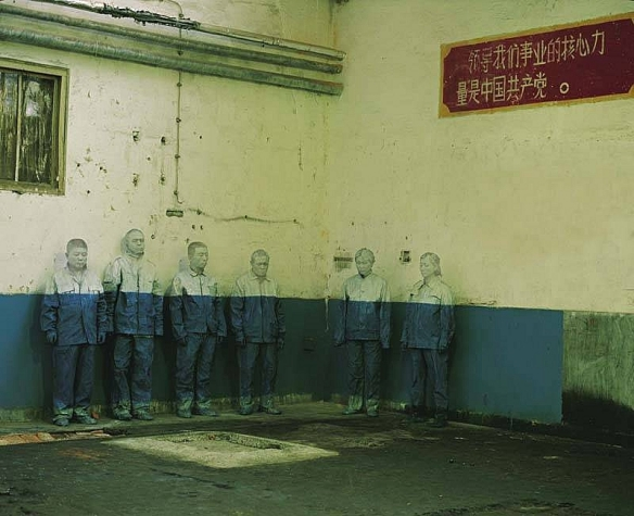 Liu Bolin, Hiding in the City No 18 - Laid Off, 2006